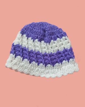 handknitted purple white cap