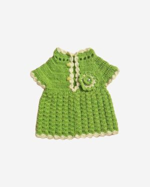 Lime Green Frock With White Border