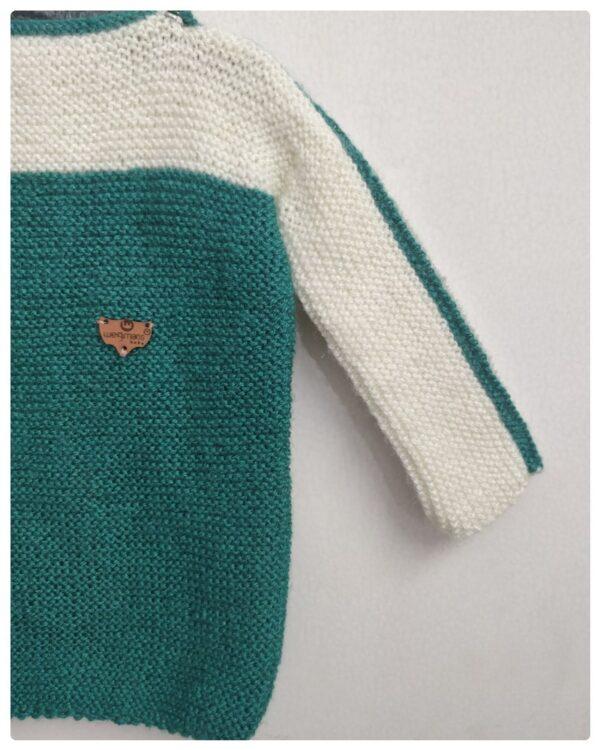 Wegmans Baby Hand Knitted Woolen Full Sweater Sea Green