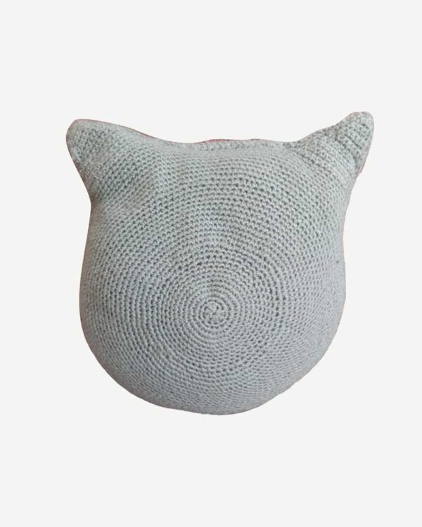 Woolen Grey Toy Cat Back