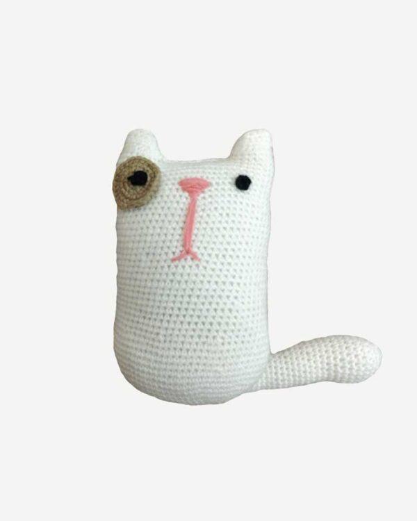 Woolen White Toy Cat