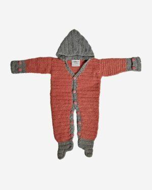 Brown Gray Woolen Full Romper Baby