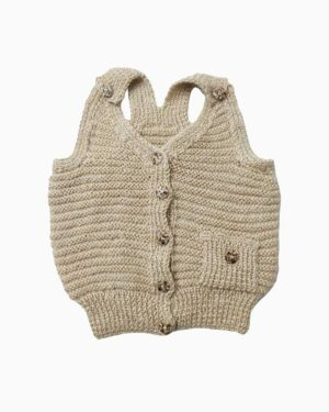 Cardigan Sweater Beige Sleeveless