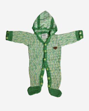 Dark Green Woolen Full Romper