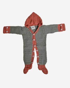 Gray Brown Full Woolen Romper Baby