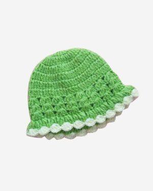 Green White Handmade Woolen Cap3