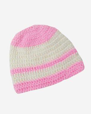 Hand Knitted Woolen Cap Cream Pink 2