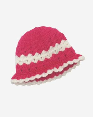 Hand Knitted Woolen Cap Red White