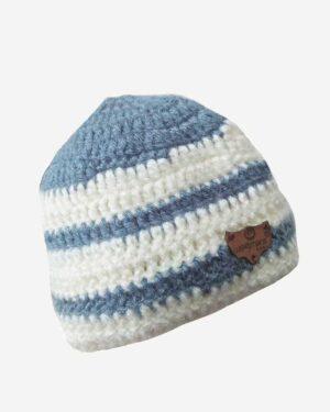 Hand Knitted Woolen Cap White Grey 1.1