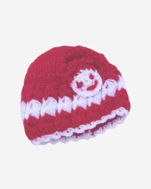 Red White Handmade Woolen Cap 1