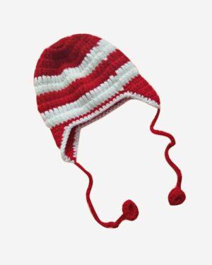 Tistook Red White Hand Knitted Woolen Cap1