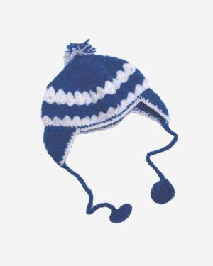 White Blue Hand Knitted Woolen Cap 1