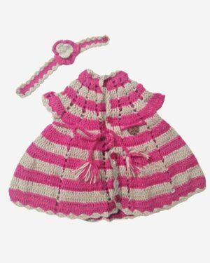 Woolen Half Frock Beige Pink