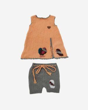 Woolen Half Frock Orange Grey